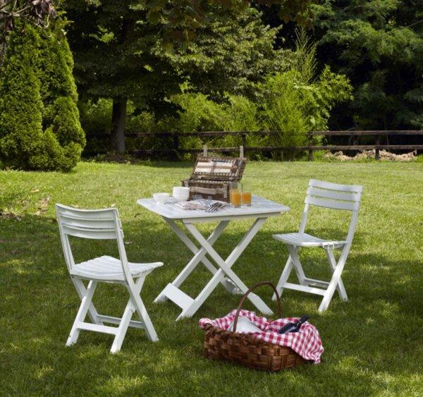 Пластмасов къмпинг сет бял 1 маса + 2 бр. столове Home Decor