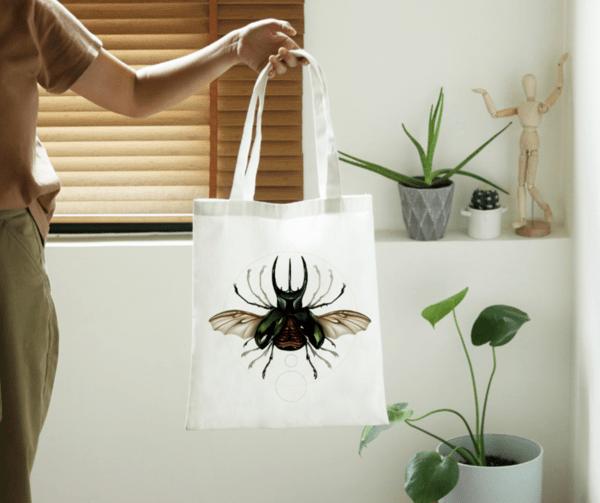 """Памучна еко чанта """"Витрувиански бръмбар"""""""
