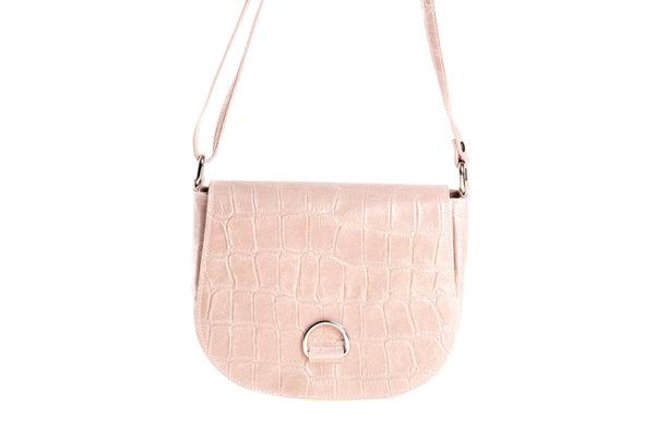 Дамска чанта от естествена кроко кожа в светло розово