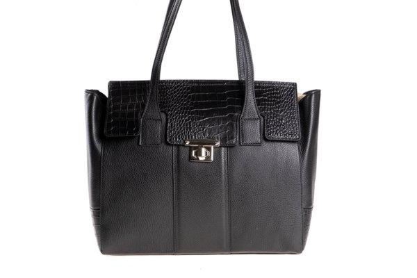 Дамска чанта от естествена кроко кожа в черно