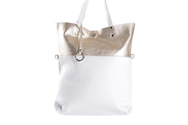 Дамска чанта UGGARI Milano с две къси дръжки в бяло и златисто