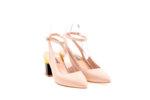 Дамски обувки Aquamarine с отворена пета и цветен ток в бежово