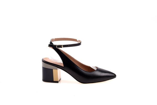 Дамски обувки Aquamarine с отворена пета и цветен ток в черно