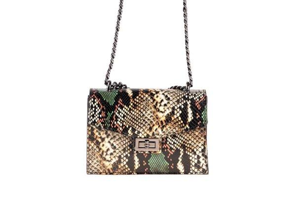 Дамска  чанта от естествена кожа със змийски принт в зелено