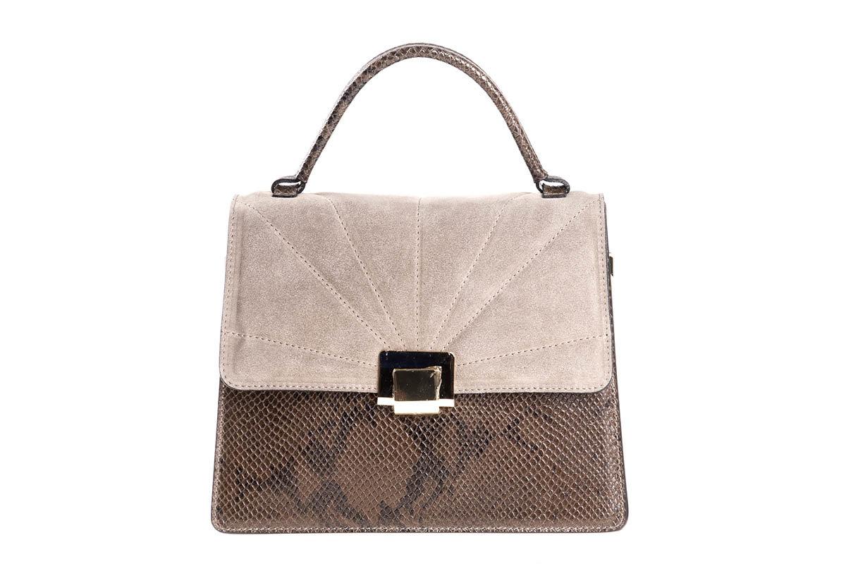 Дамска чанта със змийски принт от естествена кожа и велур в  кафяво