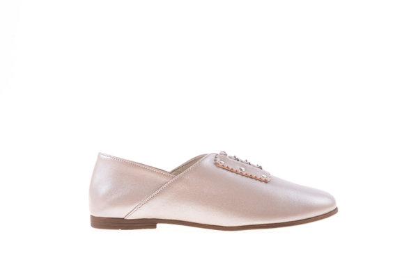 Дамски обувки Aquamarine на нисък ток с връзки в цвят бронз