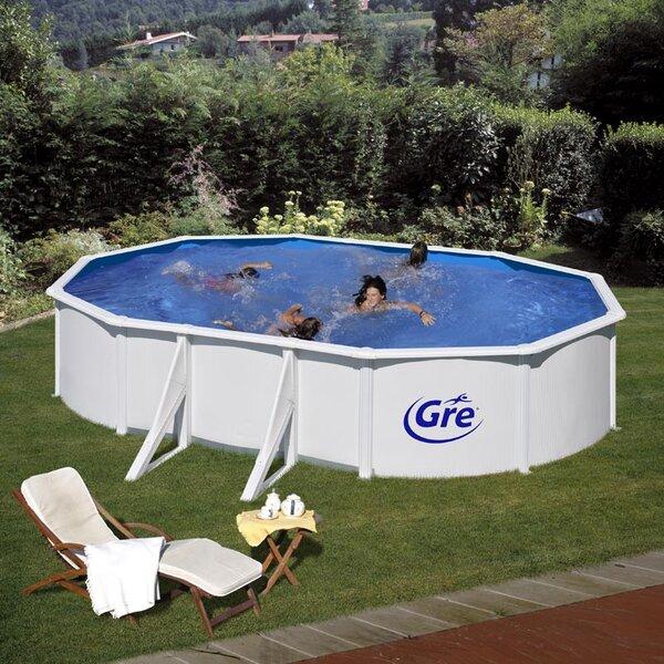 FIDJI Бял сглобяем басейн овал 500х300х120 см с пясъчен филтър