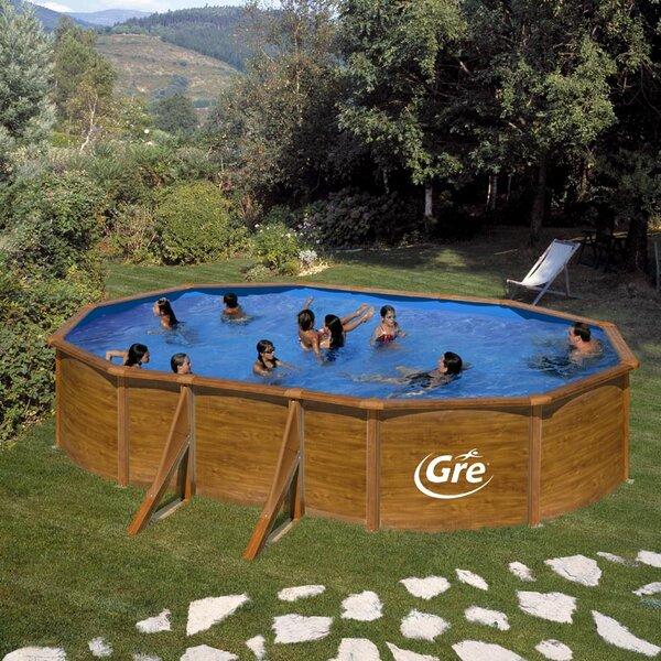 PACIFIC Сглобяем басейн имитация дърво овал 500х300х120 см с пясъчен филтър