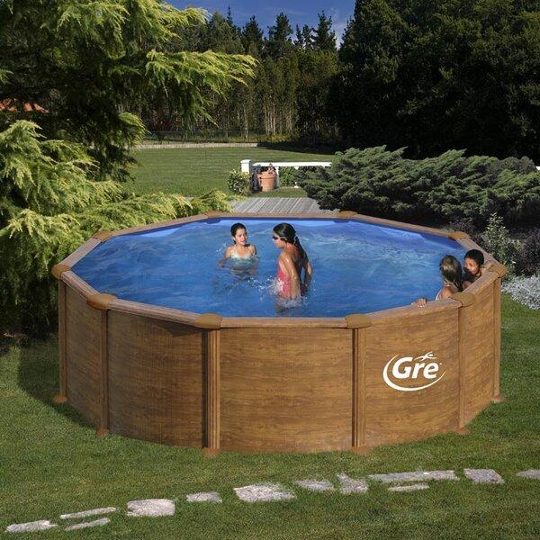 PACIFIC Сглобяем басейн имитация дърво кръг 460x120 см с пясъчен филтър