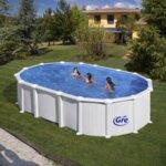 HAITI Бял сглобяем басейн овал 132 см с пясъчен филтър с вкопани подпори