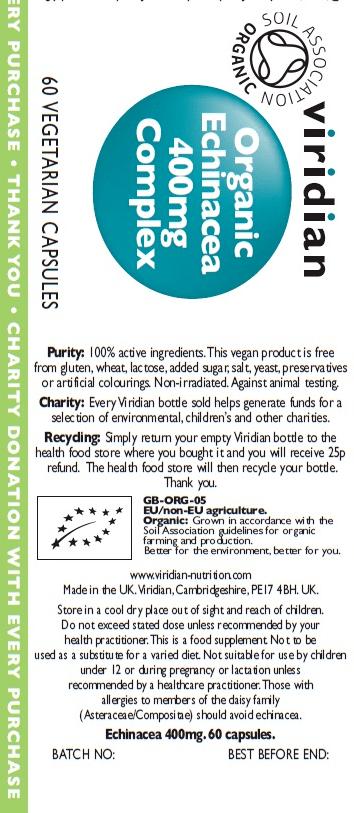 Органичен Корен от Ехинацея Organic Echinacea 400 mg Complex Viridian