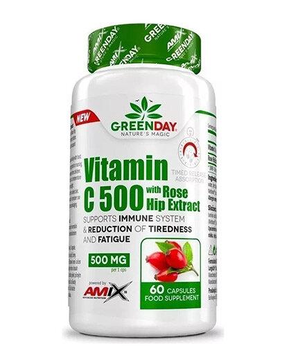 Витамин C + Екстракт от Шипки 500mg Vitamin Cwith Rose Hips AMIX GreenDay 60 капсули