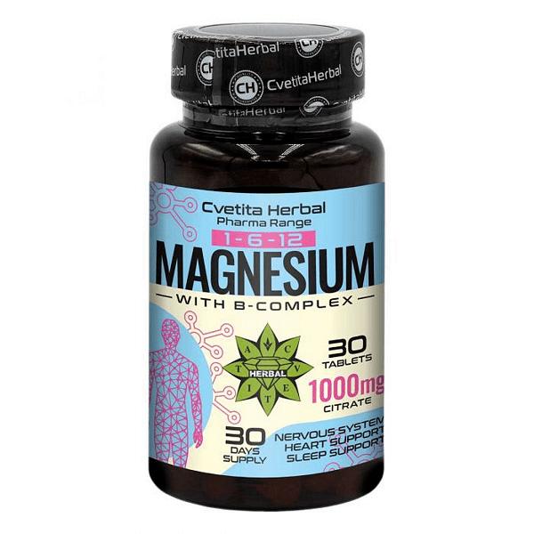 Магнезий Цитрат Magnesium + B-Complex Cvetita Herbal 30 таблетки