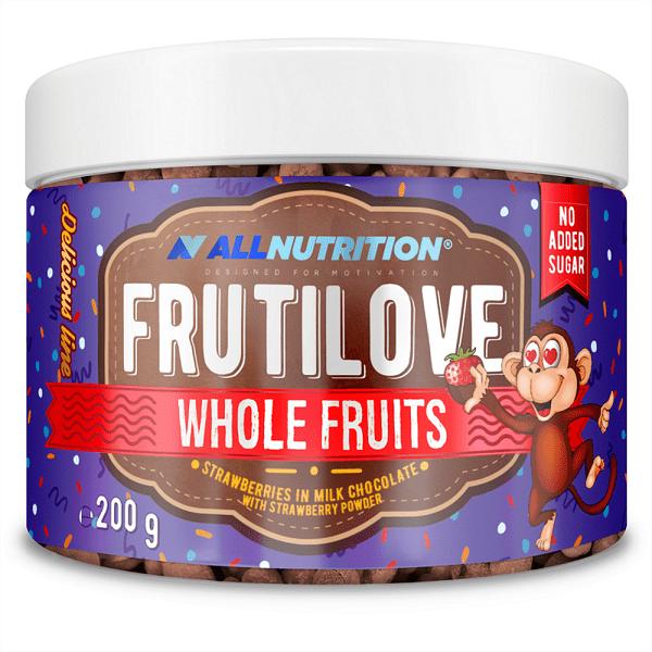 Бонбони от Ягоди Обвити в Млечен Шоколад FruitLove Strawberries in Milk Chocolate & Strawberry Powder AllNutrition 200 грама