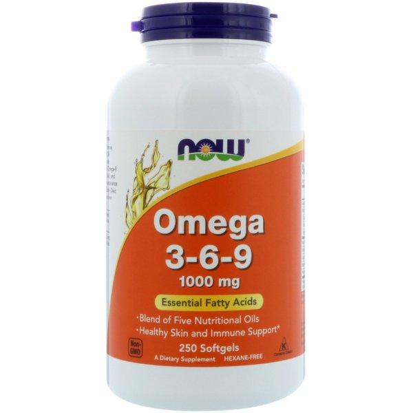 Omega 3-6-9 1000мг NOW Foods 250 дражета