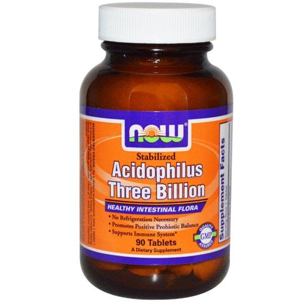 Stabilized Acidophilus 3 Billion NOW Foods 180 таблетки