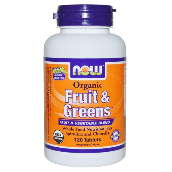 Fruit and Greens Organic NOW Foods 120 таблетки