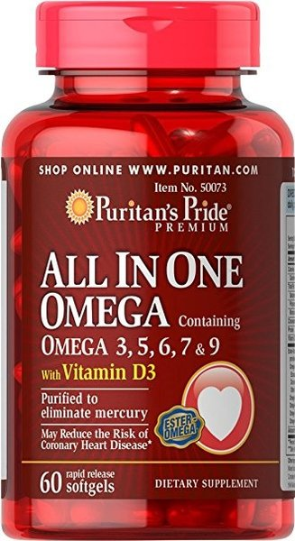 All In One Omega 3, 5, 6, 7 and 9 with Vitamin D3 Puritans Pride 60 дражета