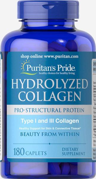 Hydrolyzed Collagen /Хидролизиран Колаген/ Puritans Pride 180 капсули