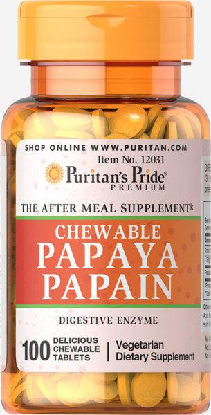 Papaya Papain /Папаин/ Puritans Pride 100 дъвчащи таблетки