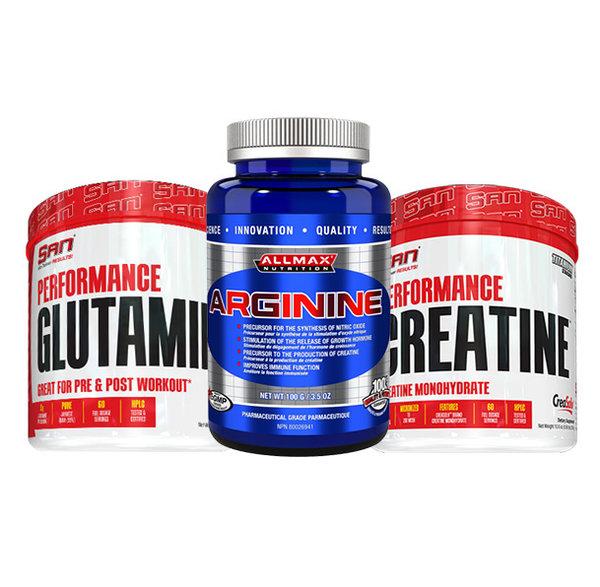 Стак за мускулна маса, възстановяване и напомпване | Креатин + Глутамин + Аргинин