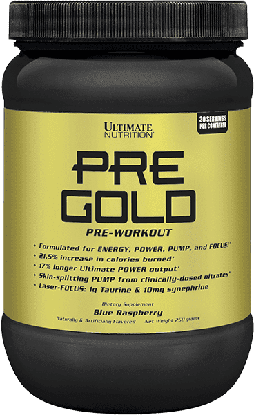 Азотен бустер Pre Gold Ultimate Nutrition 250 грама 30 дози