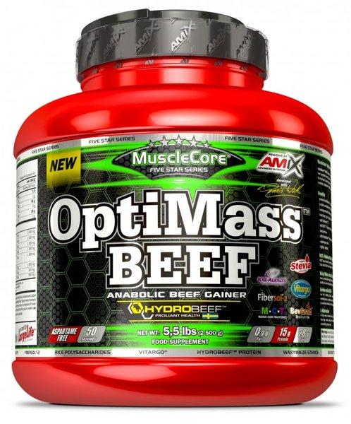 Телешки Протеин с Кре-Алкалин, Въглехидрати и BCAA OptiMass BEEF Gainer AMIX 2500 грама