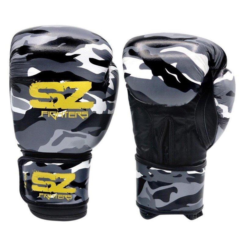 Боксови Ръкавици Gel X Lite Ест. Кожа SZ Fighters Черно с бяло-Copy