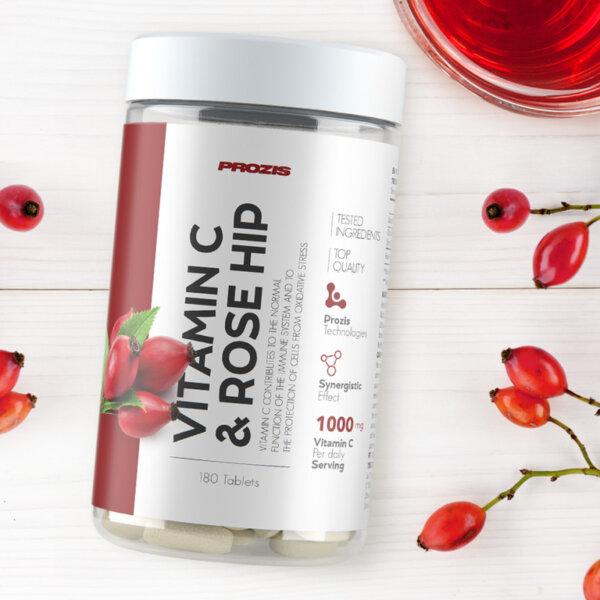Витамин C + Екстракт от Шипки 500mg Prozis 180 таблетки