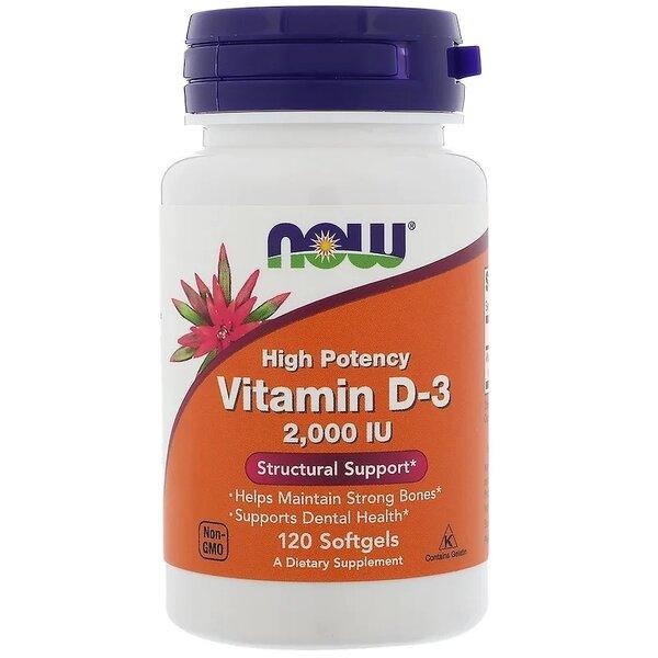 Витамин D-3 2000 IU NOW Foods 120 дражета