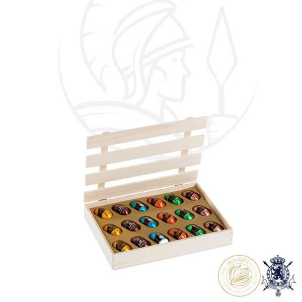 Дървена Кутия с Ликьор Шоколадови Бонбони Leonidas (18 Бр.)
