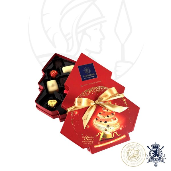 Коледна Елха Кутия с Шоколадови Бонбони Leonidas (12бр.)