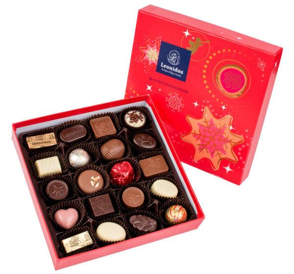 Zanzibar Коледна Звезда Кутия с Шоколадови Бонбони Leonidas (16 бр.)