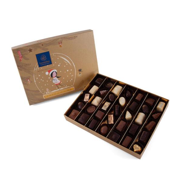 Gold Коледна Кутия с Шоколадови Бонбони Leonidas (50 бр.)