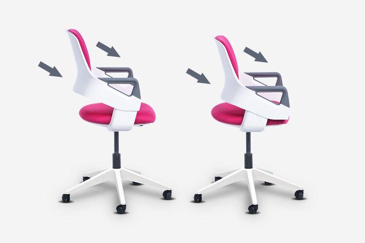 Детският стол CLEVER E е оборудван с иновативен 7-степенен механизъм за едновременно регулиране на височината на облегалката и дълбочината на седалката