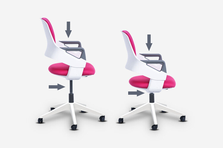 Детският стол CLEVER E разполага и с пневматичен газов механизъм (газов амортисьор) за плавно регулиране на височината на седалката