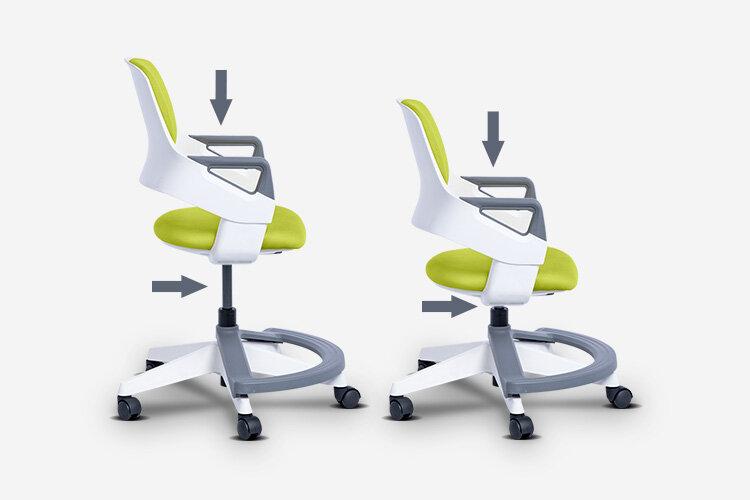 Детският стол CLEVER е оборудван с пневматичен газов механизъм (газов амортисьор) за плавно регулиране на височината на седалката