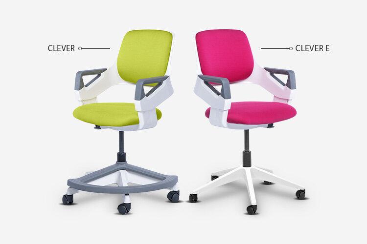 Детският стол CLEVER (със стъпенка) и детският стол CLEVER E (без стъпенка)