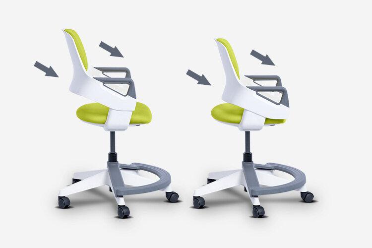 Детският стол CLEVER е оборудван с уникален 7-степенен механизъм за едновременно регулиране на височината на облегалката и дълбочината на седалката