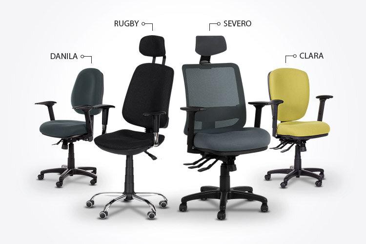 Ергономичният президентски офис стол RUGBY заедно с ергономичните офис столове SEVERO, CLARA и DANILA