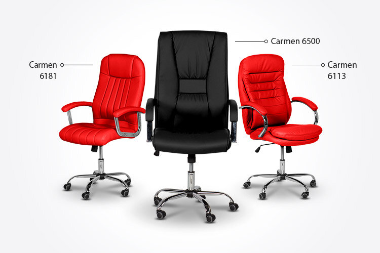 Президентският офис стол Carmen 6181 заедно с президентските офис столове Carmen 6113 и Carmen 6500