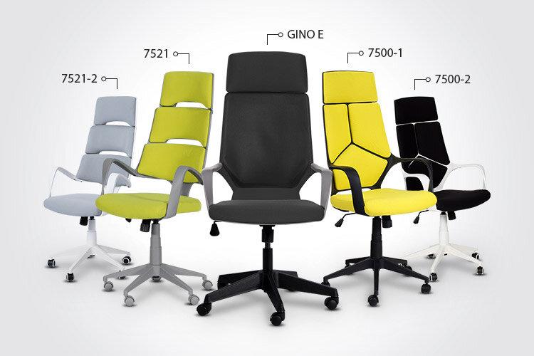 Президентският офис стол GINO E заедно с президентските офис столове Carmen 7500-1, Carmen 7500-2, Carmen 7521 и Carmen 7521-2