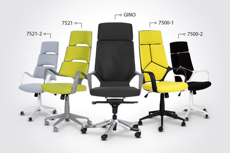 Президентският офис стол GINO заедно с президентските офис столове Carmen 7500-1, Carmen 7500-2, Carmen 7521 и Carmen 7521-2
