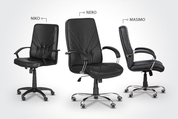 Комбинирайте президентския офис стол NIKO с президентските офис столове NERO и MASIMO
