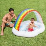 Бебешки надуваем басейн със сенник Intex Rainbow Cloud (Дъга), 142 x 119 x 84 см