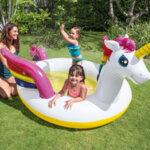 Детски надуваем басейн с водна пръскалка Intex Mystic Unicorn (Еднорог)