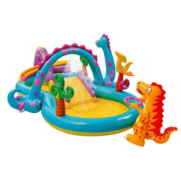 Детски надуваем център за игра с водна пръскалка и пързалка Intex Dinoland (Динозаври), 333 x 229 x 112 см