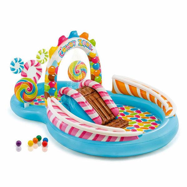 Детски надуваем център за игра с водна пръскалка и пързалка Intex Candy Zone (Бонбонландия), 295 x 191 x 130 см
