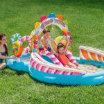 Детски надуваем център за игра с водна пръскалка и пързалка Intex Dinoland (Динозаври), 333 x 229 x 112 см-Copy