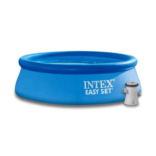 Надуваем басейн (с надуваем ринг) с филтърна помпа Intex Easy Set, Ø244 x 76 см